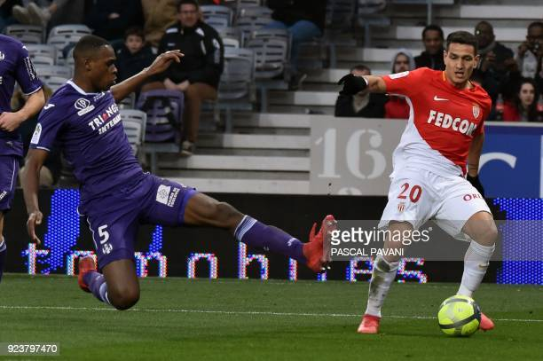 Monaco's Portuguese forward Rony Lopes vies with Toulouse's French defender Issa Diop during the French L1 football match between Toulouse and Monaco...