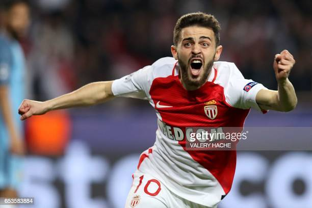 Monaco's Portuguese midfielder Bernardo Silva celebrates after his team scored a goal during the UEFA Champions League round of 16 football match...