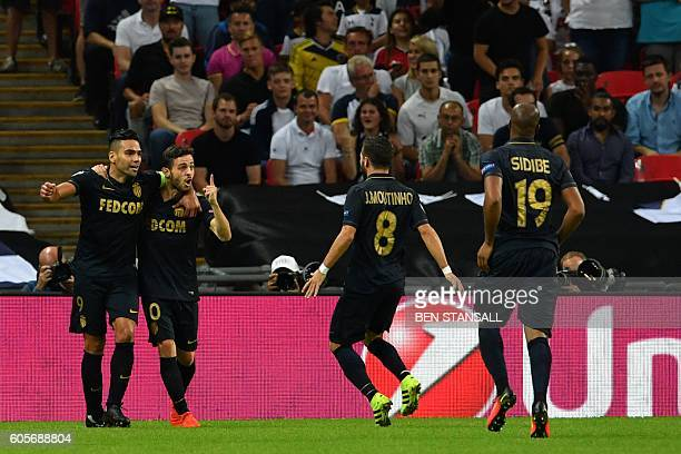 Monaco's Portuguese midfielder Bernardo Silva celebrates after scoring during the UEFA Champions League group E football match between Tottenham...