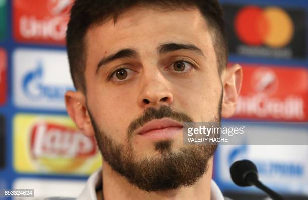 Monaco's Portuguese midfielder Bernardo Silva speaks during a press conference in Monaco on March 14 on the eve of their UEFA Champions League...