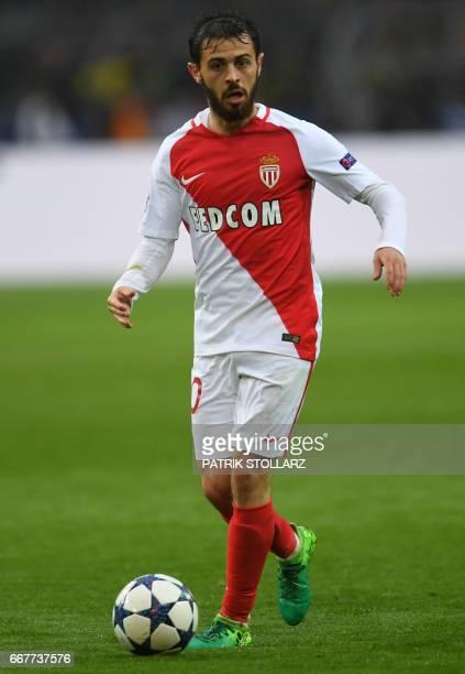 Monaco's Portuguese midfielder Bernardo Silva the ball during the UEFA Champions League 1st leg quarterfinal football match BVB Borussia Dortmund v...