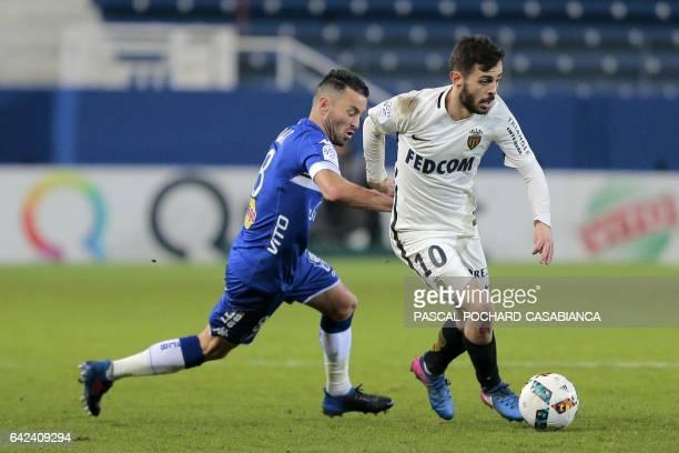 Monaco's Portuguese midfielder Bernardo Silva vies with Bastia's French midfielder Gael Danic during the L1 football match Bastia against Monaco on...