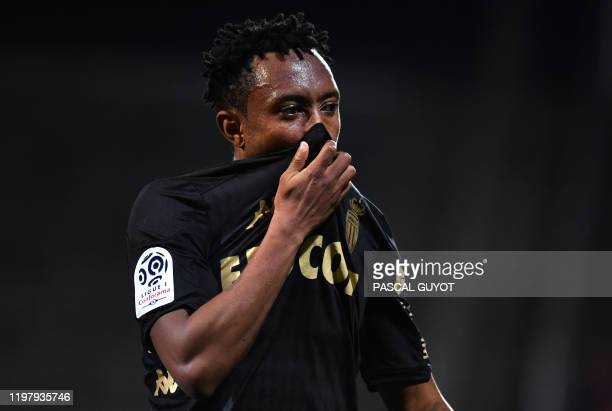 Monaco's Portuguese midfielder Gelson Martins reacts during the French L1 football match between Nimes and Monaco on February 1 at the Costieres...