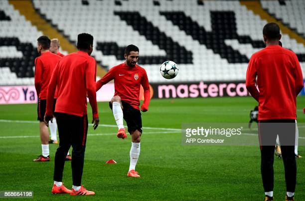 Monaco's Portuguese midfielder Joao Moutinho ateks part in a training session at the Vodafone Park stadium in Istanbul on October 31 on the eve of...