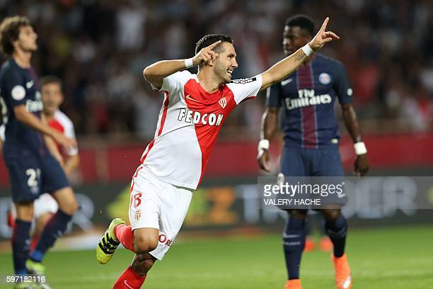 Monaco's Portuguese midfielder Joao Moutinho celebrates after scoring a goal during the French L1 football match between Monaco and ParisSaintGermain...