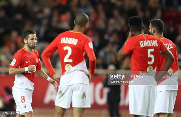 Monaco's Portuguese midfielder Joao Moutinho celebrates after scoring a goal during the French L1 football match between Monaco and Paris...