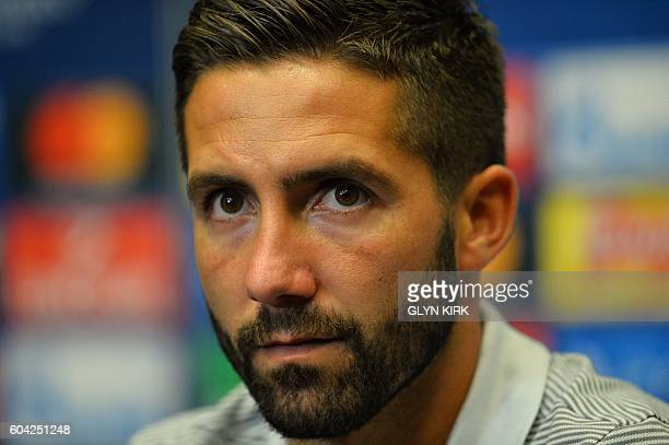 Monaco's Portuguese midfielder Joao Moutinho gives a press conference at Wembley Stadium northwest London on September 13 2016 ahead of their UEFA...