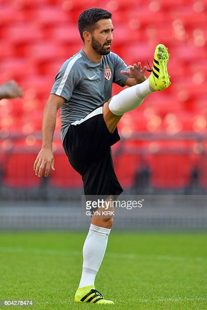 Monaco's Portuguese midfielder Joao Moutinho takes part in a training session at Wembley Stadium northwest London on September 13 2016 ahead of their...