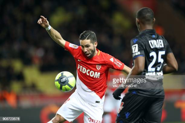Monaco's Portuguese midfielder Joao Moutinho vies with Nice's French midfielder Wylan Cyprien during the French L1 football match Monaco vs Nice on...