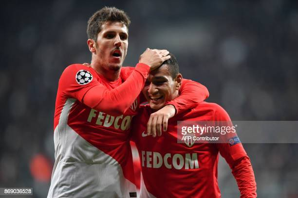 Monaco's Portuguese midfielder Rony Lopes celebrates after scoring a goal during the UEFA Champions League Group G football match between Besiktas...