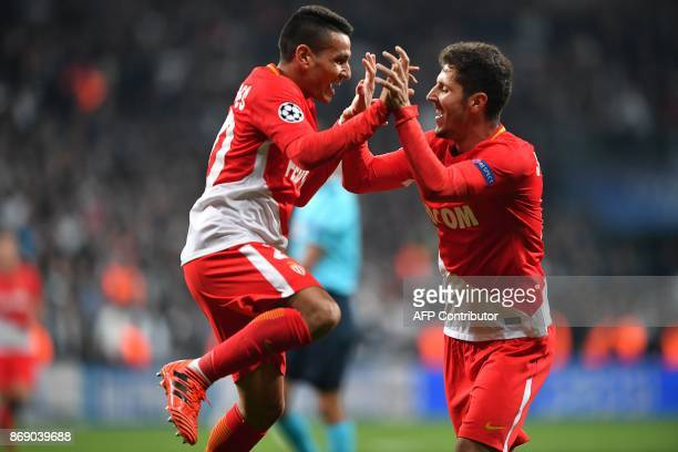 Monaco's Portuguese midfielder Rony Lopes celebrates with Monaco's Montenegrin forward Stevan Jovetic after scoring a goal during the UEFA Champions...