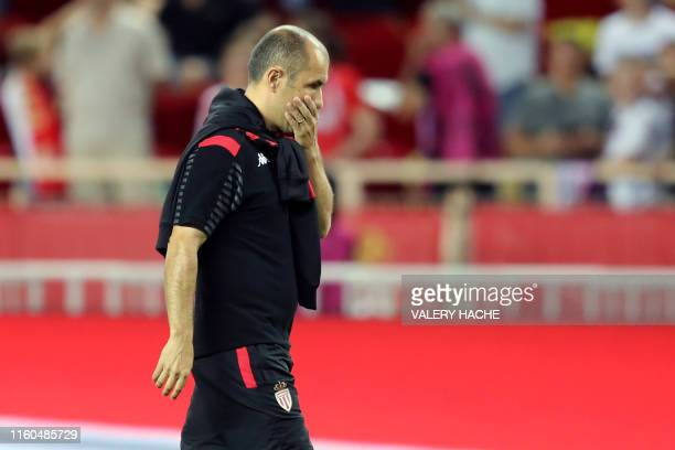Monaco's Portugueses coach Leonardo Jardim looks on at the end of the the French L1 football match between AS Monaco and Olympique Lyonnais at the...