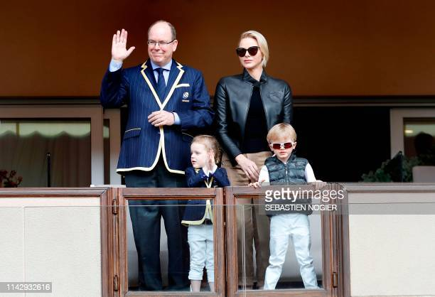 Monaco's Prince Albert II , his wife Princess Charlene , their twin children Prince Jacques , Princess Gabriella attend the Sainte Devote Rugby...