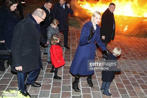 Monaco's Prince Albert II , Princess Charlene of Monaco , Prince Jacques and Princess Gabriella take part in Sainte-Devote festivities in Monaco on...