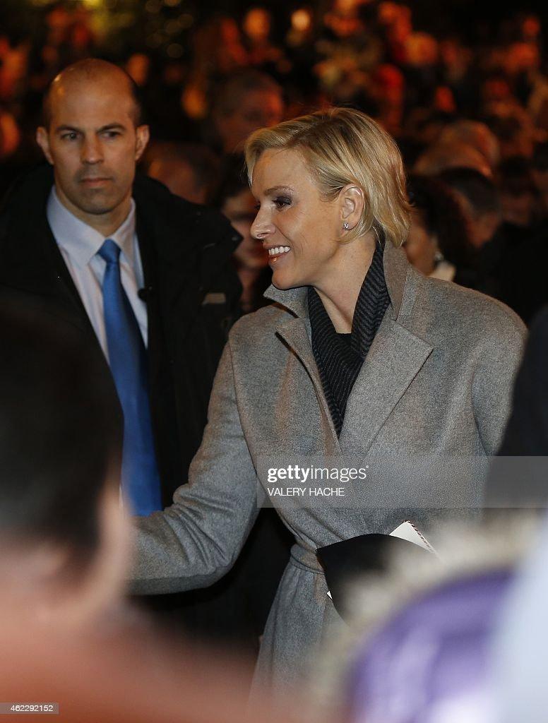 Monaco's Princess Charlene attends on January 26, 2015 a procession in Monaco celebrating the patron saint of Monaco and Corsica, Saint-Devote.