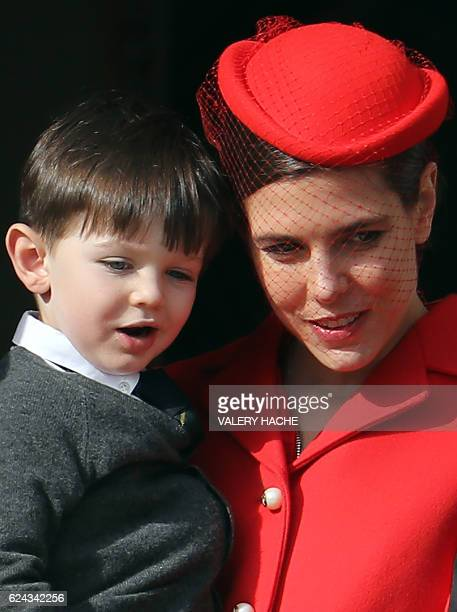 Monaco's Princess Charlotte Casiraghi and her son Raphael appear on the balcony of the Monaco Palace during the celebrations marking Monaco's...