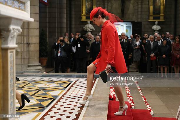 Monaco's Princess Charlotte Casiraghi arrives to attend a mass at the Saint Nicholas cathedral during the celebrations marking Monaco's National Day...