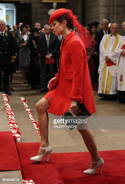 Monaco's Princess Charlotte Casiraghi arrives to attend a mass at the Saint Nicholas cathedral during the celebrations marking Monaco's National Day,...