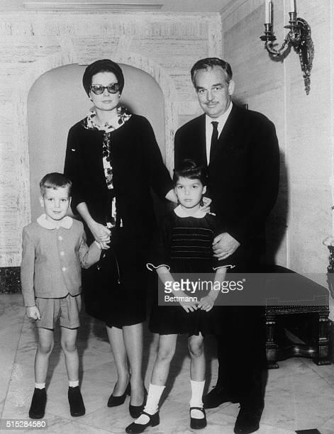 Monaco's Royal Family New York Their serene highnesses Prince Rainier and Princess of Monaco pose with their children Prince Albert and Princess...