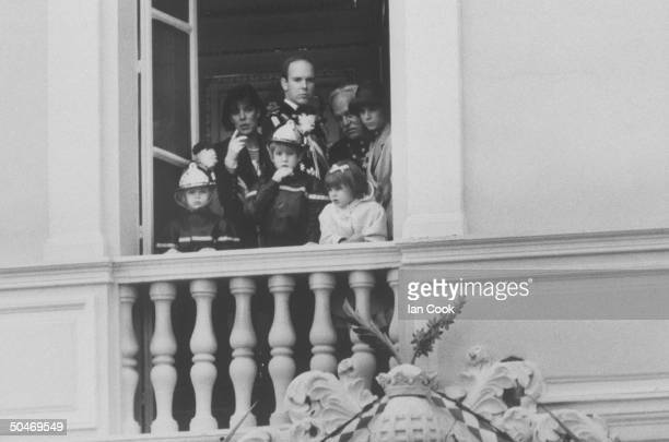 Monaco's royal family on palace balcony celebrating principality's National Day Pierre Caroline Andrea Albert Charlotte Rainier Stephanie