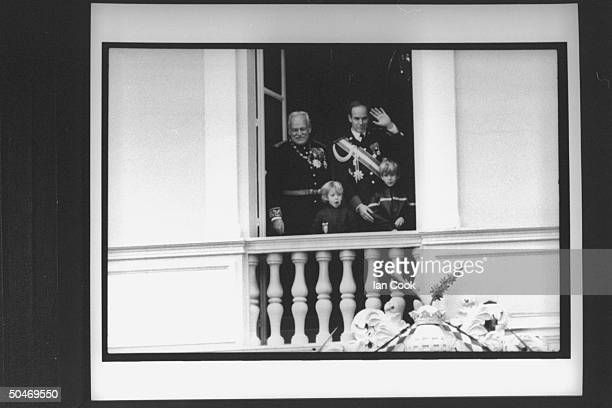 Monaco's royal family on palace balcony celebrating principality's National Day Rainier Pierre Albert Andrea