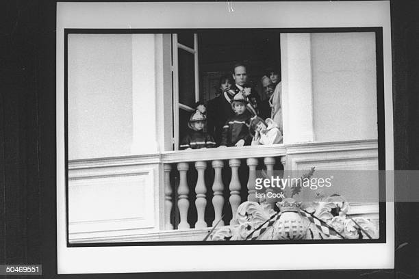 Monaco's royal family on palace balcony celebrating principality's National Day Pierre Caroline Albert Andrea Charlotte Rainier Stephanie