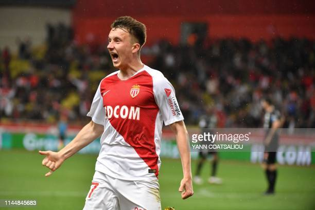 Monaco's Russian midfielder Aleksandr Golovin celebrates after scoring a goal during the French L1 football match between AS Monaco and Amiens SC on...
