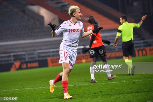 Monaco's Russian midfielder Aleksandr Golovin celebrates after scoring a goal during the French L1 football match between FC Lorient and AS Monaco at...