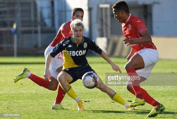 Monaco's Russian midfielder Aleksandr Golovin controls the ball during the French L1 football match between Nimes and Monaco, at the Costieres...