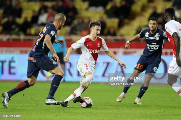 Monaco's Russian midfielder Aleksandr Golovin runs with the ball during the French L1 football match Monaco vs Montpellier on December 1 2018 at the...