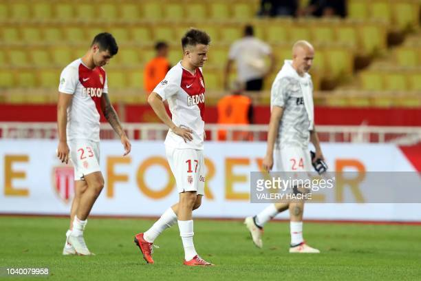 Monaco's Russian midfielder Aleksandr Golovin walks on the pitch after being defeated by Angers at the end of the French L1 football match Monaco vs...
