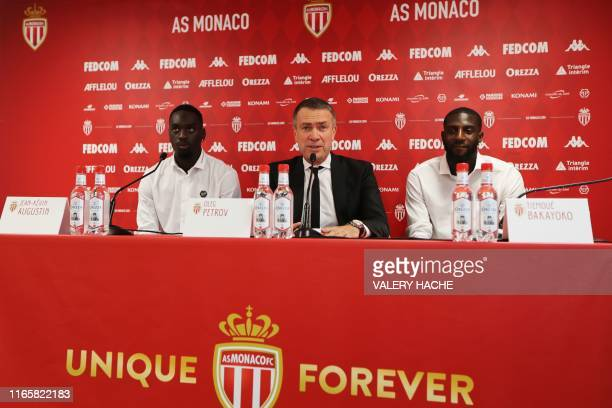 Monaco's Russian Vice club President Oleg Petrov gives a press conference for the presentation of Monaco's French forward JeanKevin Augustin and...