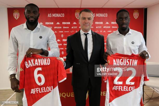 Monaco's Russian Vice club President Oleg Petrov poses after a press conference for the presentation of Monaco's French forward JeanKevin Augustin...