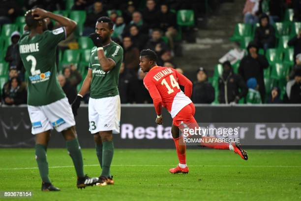 Monacos Senegalese forward Keita Balde celebrates after scoring a goal during the French L1 football match between SaintEtienne and Monaco on...