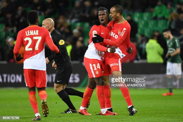 Monacos Senegalese forward Keita Balde celebrates with teammates after scoring a goal during the French L1 football match between SaintEtienne and...