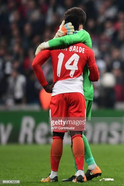 Monaco's Senegalese forward Keita Balde vies with Besiktas' Spanish goalkeeper Fabricio Agosto Ramirez during the UEFA Champions League Group G...
