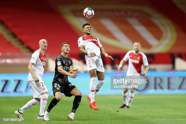 Monaco's French midfielder Youssef AitBennasser reacts at the end of the French L1 football match Monaco vs Nimes on September 21 2018 at the 'Louis...