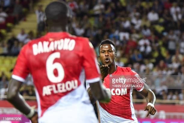 Monaco's Spanish forward Keita Balde celebrates after scoring a goal during the French L1 football match AS Monaco vs OM Marseille on September 15,...
