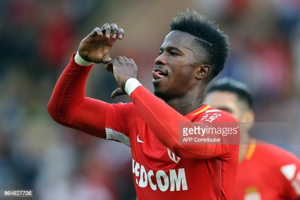 Monaco's Spanish forward Keita Balde celebrates after scoring a goal during the French L1 football match Monaco vs Caen on October 20 2017 at the...