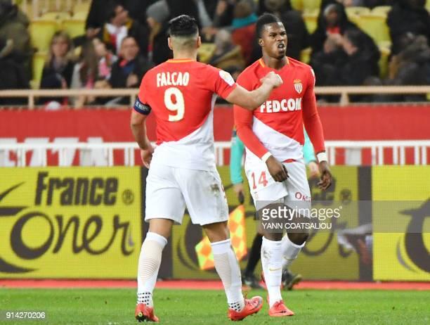 Monaco's Spanish forward Keita Balde celebrates after scoring a goal during the French L1 football match Monaco vs Lyon on February 4 2018 at Louis...