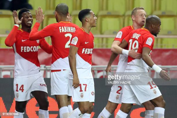 Monaco's Spanish forward Keita Balde celebrates after scoring a goal during the French L1 football match Monaco vs Dijon on February 16 2018 at the...