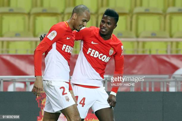 Monaco's Spanish forward Keita Balde celebrates with Monaco's Brazilian defender Fabinho after scoring a goal during the French L1 football match...