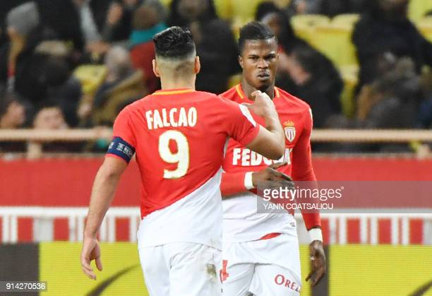 Monaco's Spanish forward Keita Balde celebrates with Monaco's Colombian forward Radamel Falcao after scoring a goal during the French L1 football...