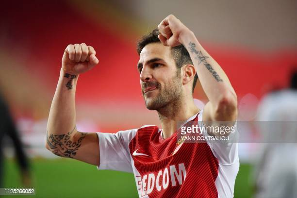 Monaco's Spanish midfielder Cesc Fabregas reacts at the end of the french L1 football match AS Monaco vs FC Nantes on February 16 2019 at Louis II...