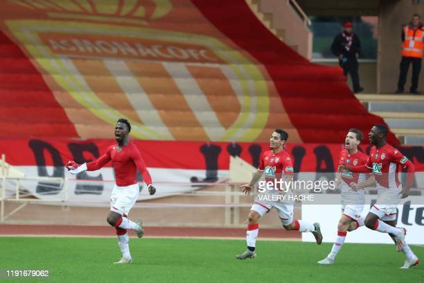 Monaco's Spanish-born Senegalese forward Keita Balde celebrates after scoring second goal during the French Cup football match between Monaco and...