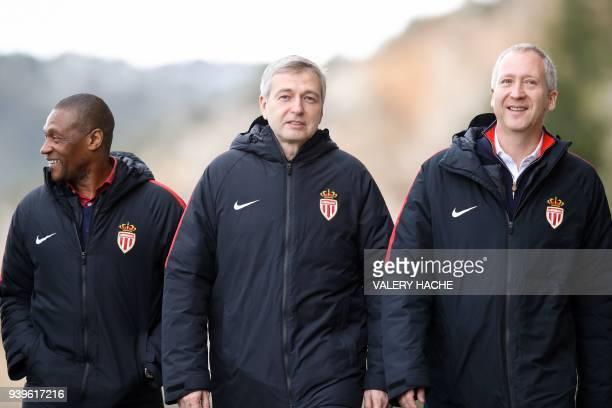 Monaco's sporting director Michael Emenalo Monaco's Russian president Dmitriy Rybolovlev and Monaco's Russian Vice club President Vadim Vasilyev...