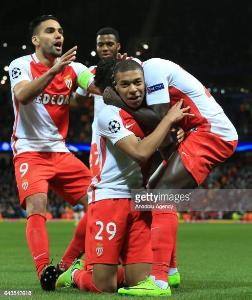 Monaco's striker Kylian Mbappe celebrates scoring their second goal against Manchester City during the UEFA Champions League Round of 16 soccer match...