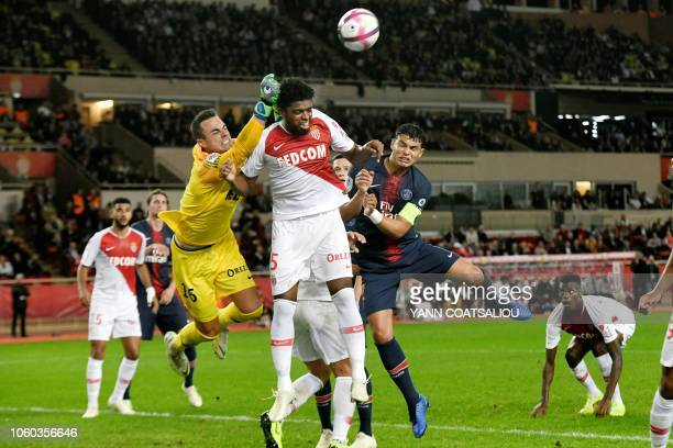 Monaco's Swiss goalkeeper Diego Benaglio in action during the French L1 football match Monaco vs Paris SaintGermain on November 11 2018 at the Louis...