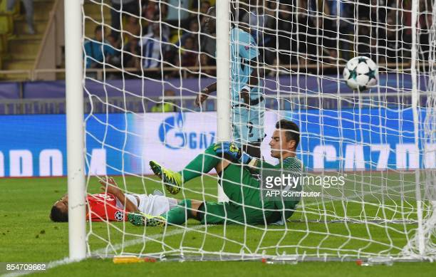 Monaco's Swiss goalkeeper Diego Benaglio reacts after conceding a goal during the UEFA Champions League Group G football match AS Monaco FC vs FC...
