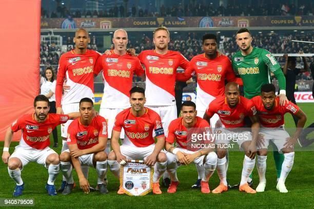Monaco's team players Brazil's Fábio Henrique Tavares 'Fabinho' Italy's Andrea Raggi Poland's Kamil Glik Brazil's Jemerson de Jesus Nascimento...